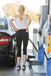 Charlotte McKinney in Leggings - Getting Gas in Malibu 5/22/2016
