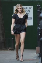 Chloë Moretz Shows Off Her Legs in a Pair of Black Shorts - NYC 5/23/2016