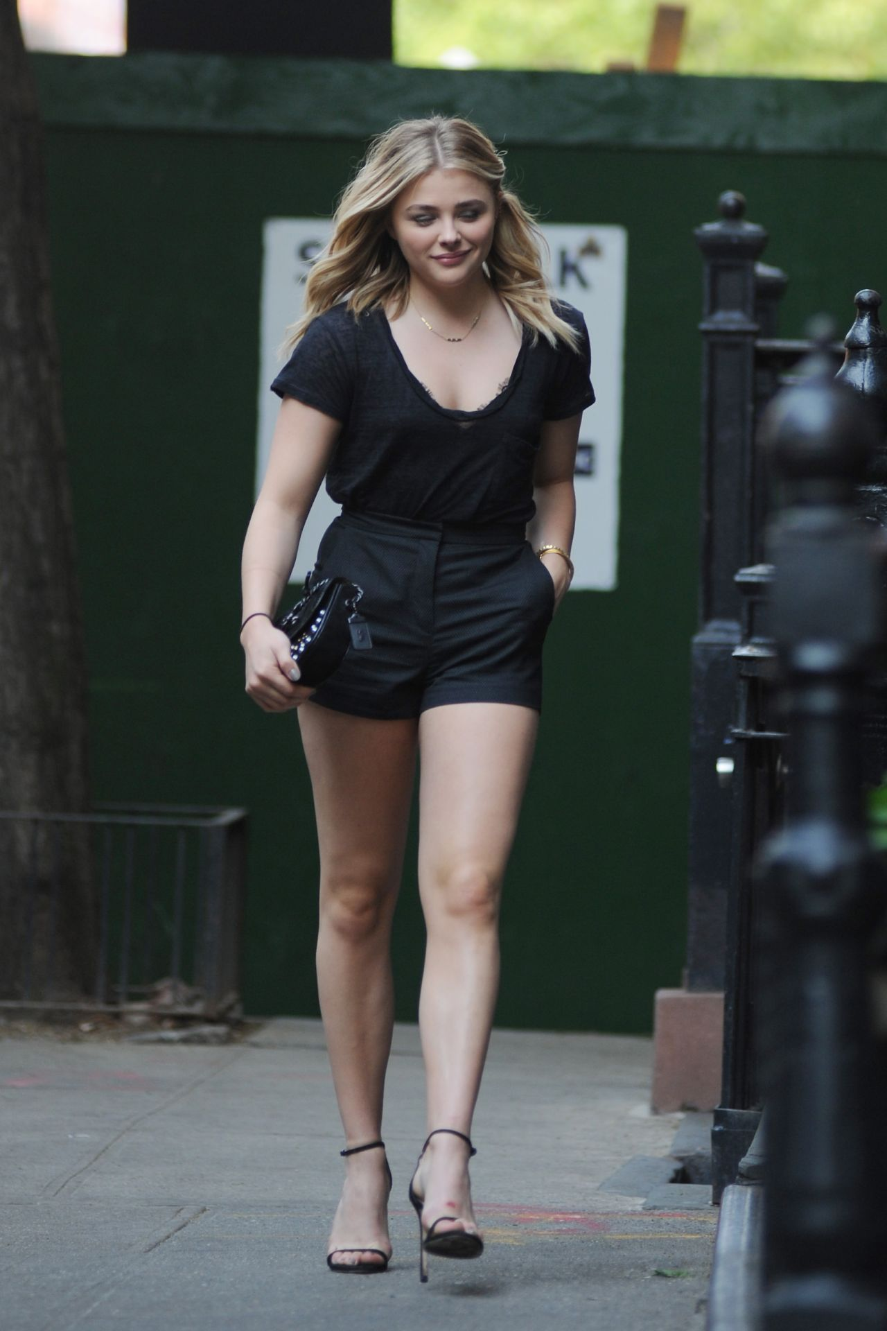 Chloë Moretz Shows Off Her Legs in a Pair of Black Shorts ...