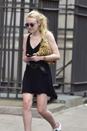 Dakota Fanning Summer Style - in Short Black Dress in Soho NYC 5/26/2016