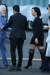 Demi Lovato Looked Radiant in a Black Cape Dress and Black Gladiator Knee-High Boots in Hollywood 5/24/2016