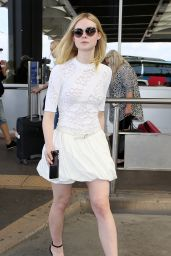 Elle Fanning Cute Outfit Ideas - at Nice Airport in Cannes 5/18/2016