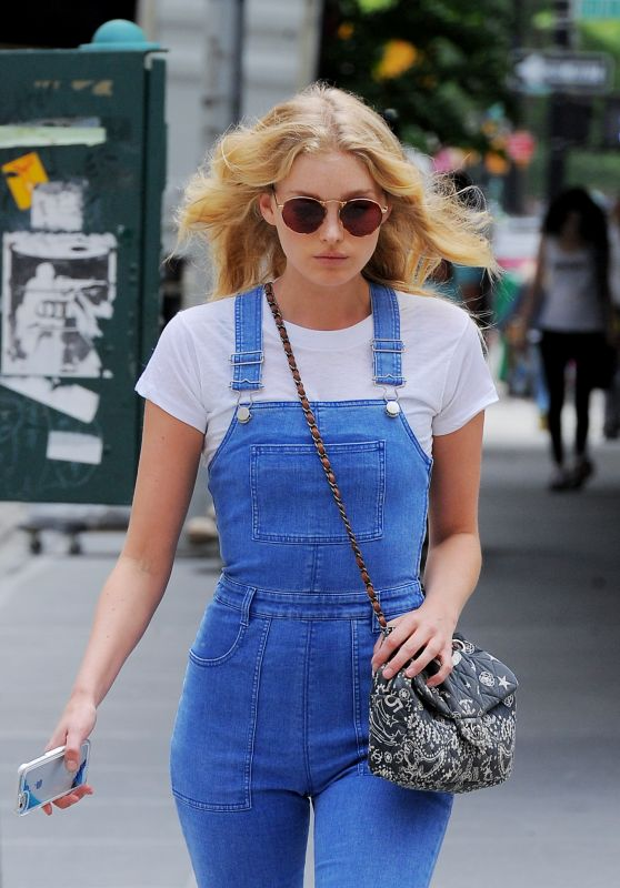Elsa Hosk in Tight Blue Jean Overalls - Tribeca 5/24/2016