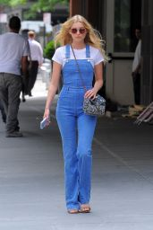 Elsa Hosk in Tight Blue Jean Overalls - Tribeca 5/24/2016