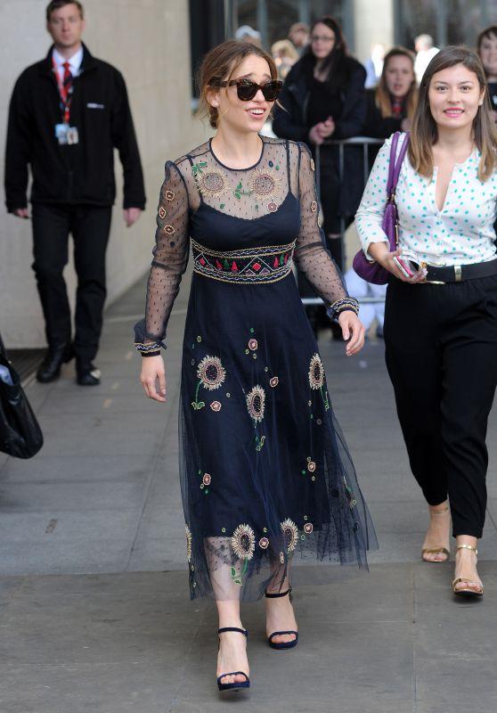 Emilia Clarke Fashion Style - at BBC Radio 1 in London 5/26/2016