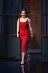 Emilia Clarke Fashion Style -  at Late Night with Seth Meyers in New York City 5/24/2016