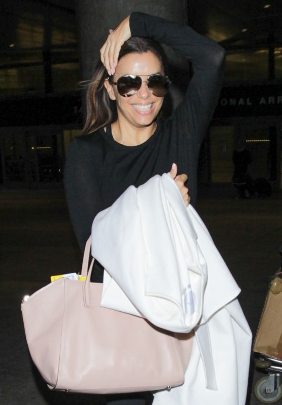 Eva Longoria Travel Outfit - Arriving Back in Los Angeles, 5/14/2016