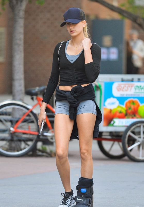 Hailey Baldwin Wearing Foot Brace - Out in New York City, May 2016