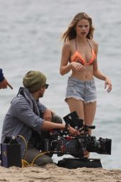 Halston Sage in Bikini Top on 'You Get Me' Set in San Pedro 5/11/2016