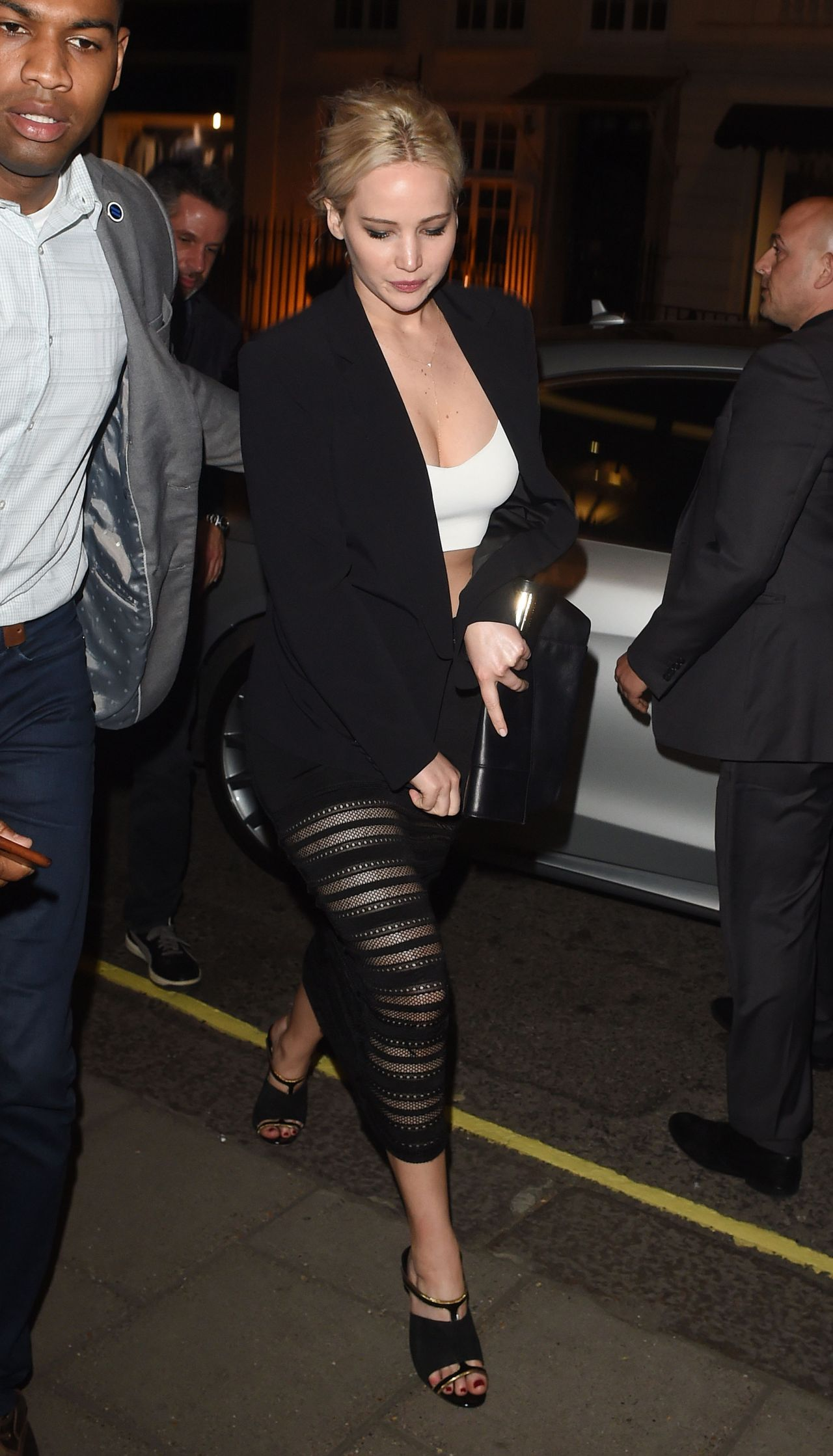 Jennifer Lawrence Night Out Style Outside Sexy Fish In