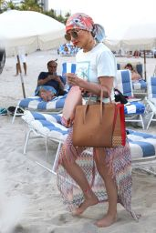 Jennifer Lopez - Sunbathing at the Beach in Miami, FL 5/6/2016