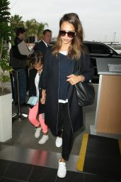 Jessica Alba Travel Outfit - LAX Airport in LA 5/10/2016