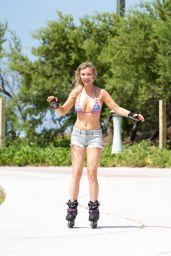Joanna Krupa in Bikini Top - Rollerblading in Miami, May 2016