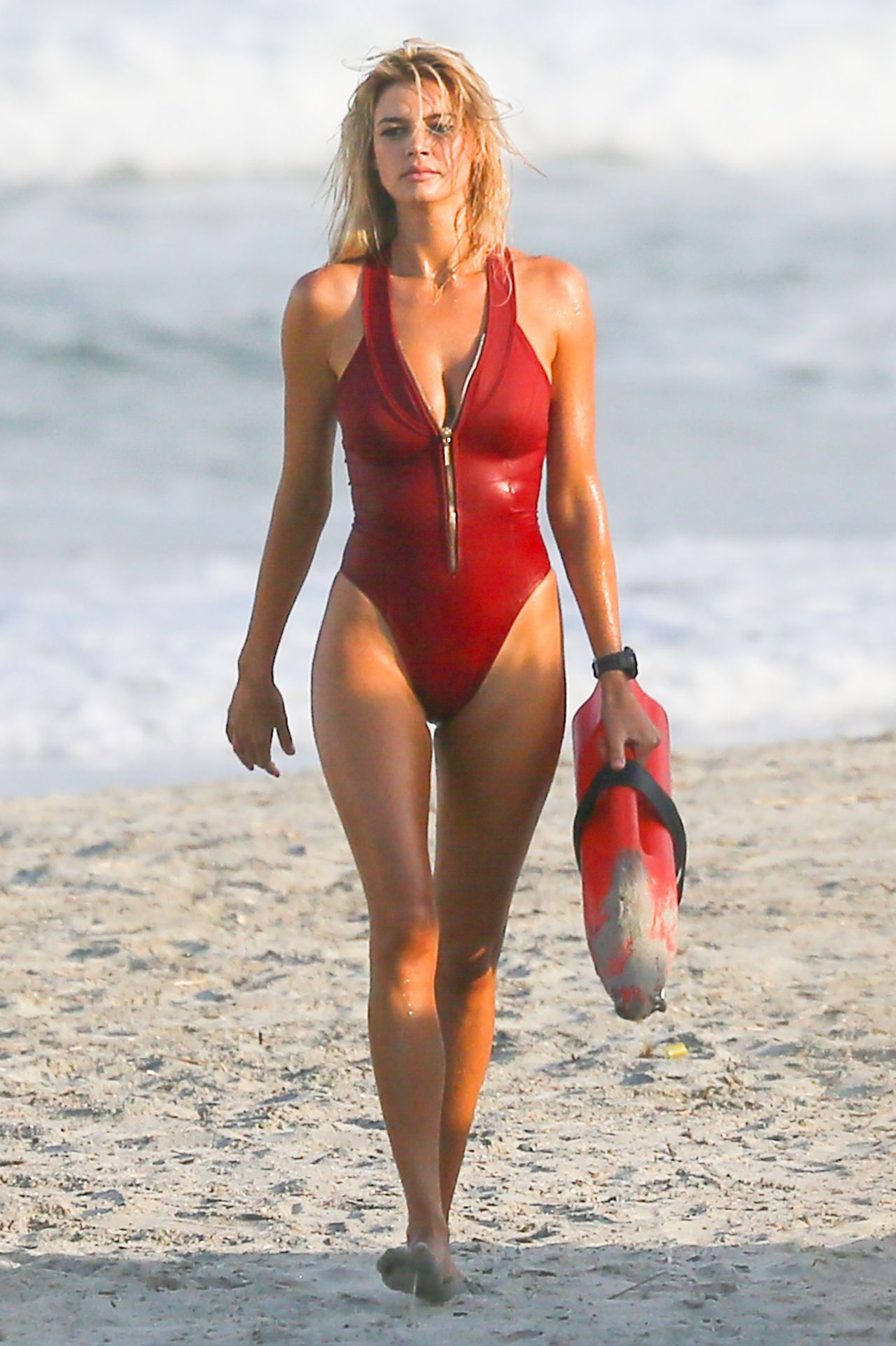 Kelly Rohrbach In Red Swimsuit Baywatch Set In Georgia
