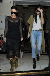 Kendall Jenner & Kim Kardashian Street Outfit - Out in London 5/23/2016