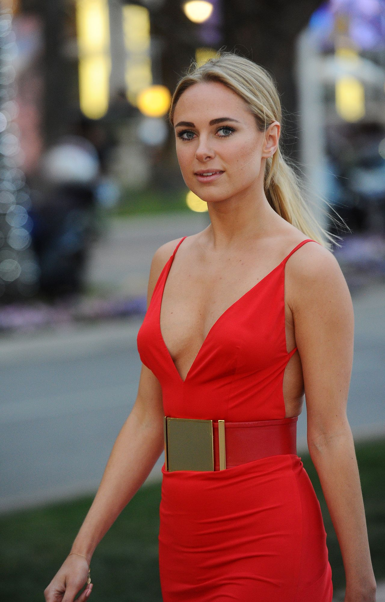 Kimberley Garner In A Slinky Red Dress At Plage Royale