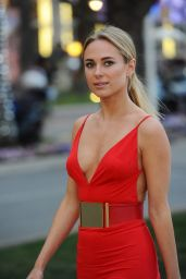 Kimberley Garner in a Slinky Red Dress at Plage Royale in Cannes 5/18/2016