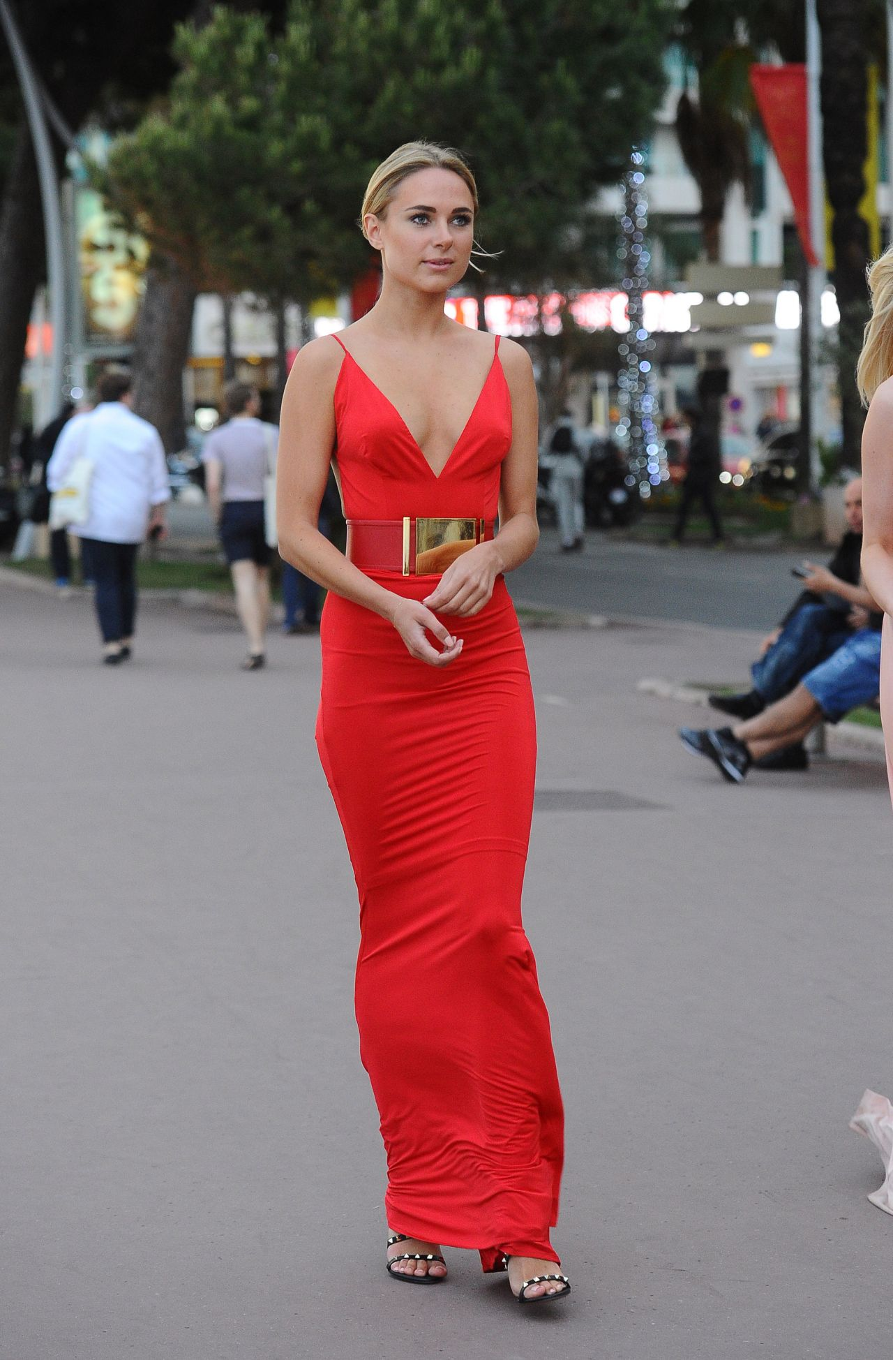 Garner in a Slinky Red Dress at Plage Royale in Cannes 5/18/2016
