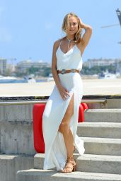 Kimberley Garner in White Dress Arrives in Cannes 5/18/2016