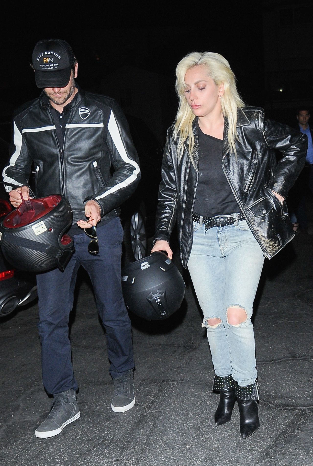 Lady Gaga Arrives With Bradley Cooper On His Ducati