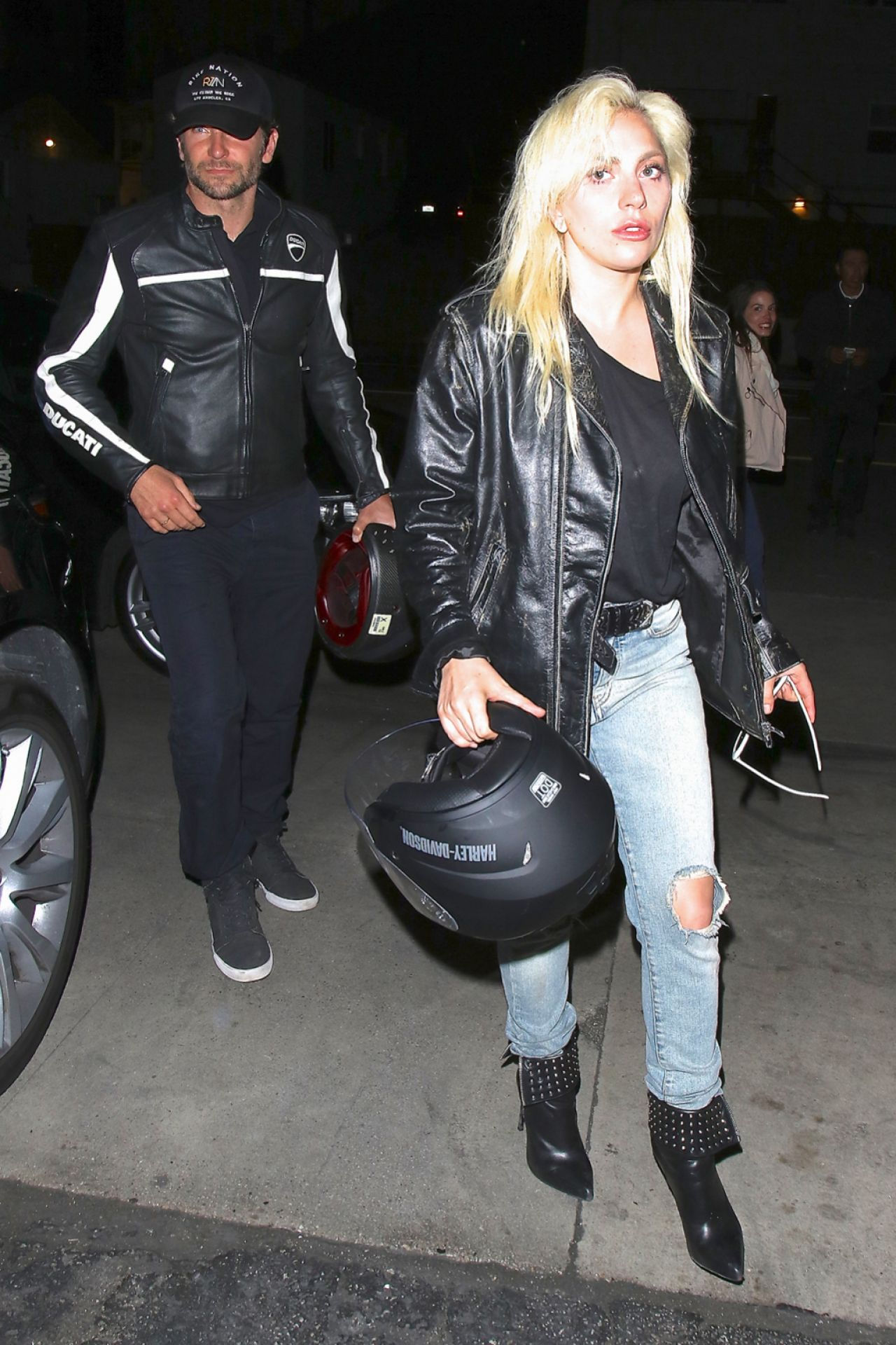 Lady Gaga - Arrives With Bradley Cooper on his Ducati ...