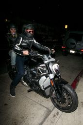 Lady Gaga - Arrives With Bradley Cooper on his Ducati Motorcycle Together for Dinner in Santa Monica, April 2016