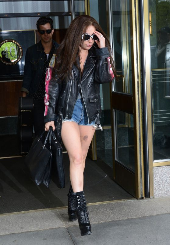 Lady Gaga Leggy in Jeans Shorts - Out in New York City 5/5/2016