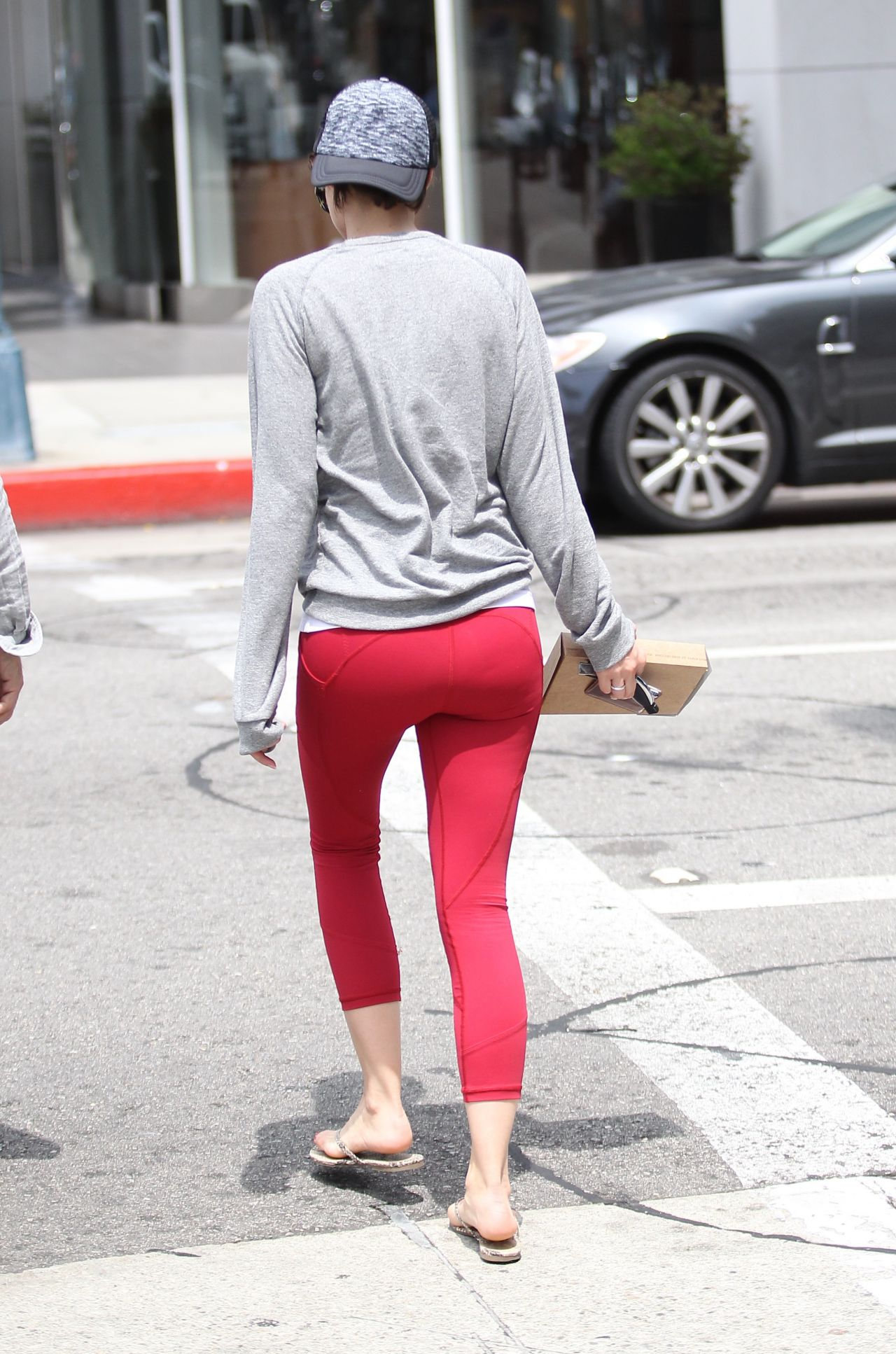 Lauren Cohan In Red Leggings Out In Beverly Hills 5 16 2016
