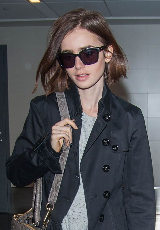 Lily Collins Travel Outfit - at LAX Airport 5/1/2016