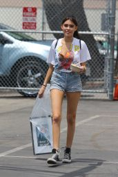 Madison Beer Leggy in Jeans Shorts - Shopping in Los Angeles 5/15/2016