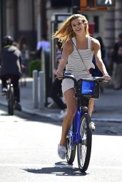 Nina Agdal Riding a Bicycle in New York City, May 2016