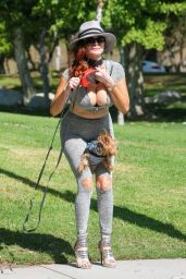 Phoebe Price Strikes a Pose With Her Pooch at Coldwater Canyon Park in Beverly Hills, May 2016