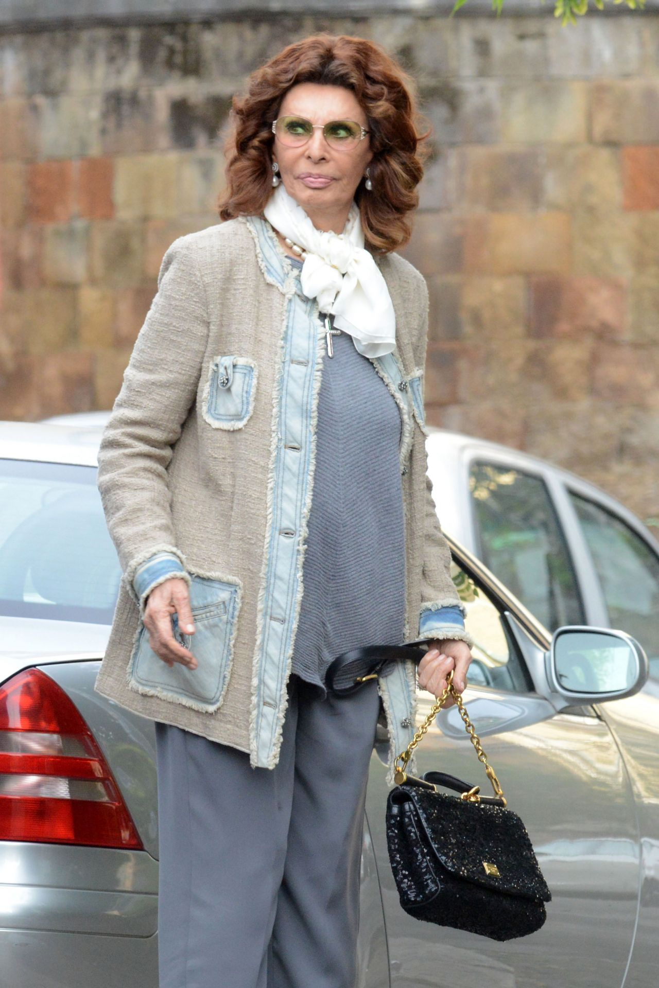 sofia loren outside the clinic with her plastic surgeon