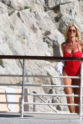 Victoria Silvstedt in Red Swimsuit at Her Hotel in Cannes 5/21/2016