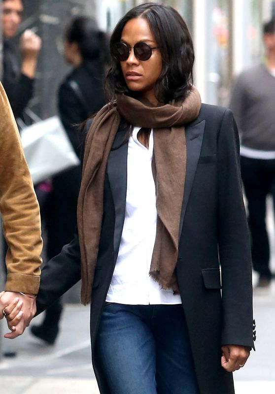 Zoe Saldana Urban Outfit - Out in New York City 5/3/2016