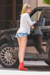 Abby Champion Leggy in Denim Shorts - Exiting Montage Beverly Hills After Lunch, May 2016