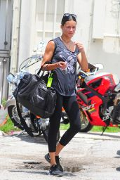 Adriana Lima in Leggings - Leaving the 5th Street Gym in Miami Beach 8/4/2016