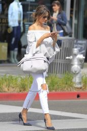 Alessandra Ambrosio Casual Chic Outfit - Shopping in Beverly Hills 6/15/2016