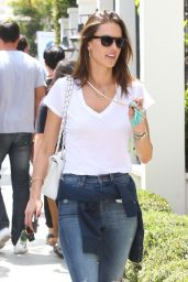 Alessandra Ambrosio in RIpped Jeans - Leaving Gracias Madre in Los Angeles 6/1/2016