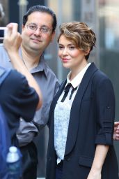 Alyssa Milano Chic Street Style - Leaves Sirius XM Studios in New York City 6/20/2016