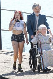Ariel Winter Rocks Fake Tattoos on the Dog Years Set in Nashville, Tennessee 6/8/2016