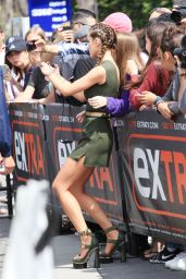 Bella Thorne in Tiny Mini Skirt and Huge Heels  on the Set of Extra in LA 6/7/2016