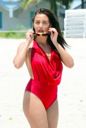 Chloe Goodman in Red Swimsuit - Miami, May 2016