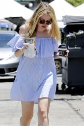 Dakota Fanning  Summer Outfit - Cools Down With a Cold Drink - Los Angeles 6/19/2016