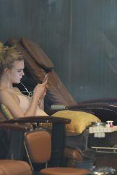 Elle Fanning - Getting a Pedicure in Los Angeles 6/25/2016