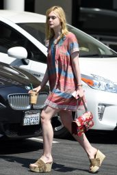 Elle Fanning Summer Street Style - at Starbucks in West Hollywood 6/27/2016