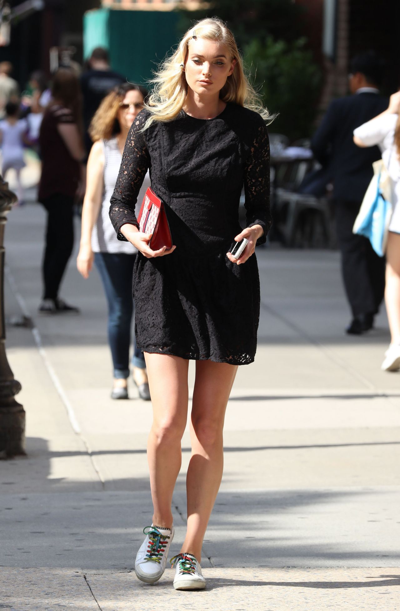 Elsa Hosk In Black Mini Dress Out New York City 6 2016