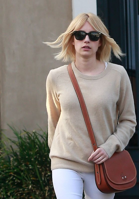 Emma Roberts Gets a New Hair Color and Cut at Nine Zero One Salon in West Hollywood, June 2016