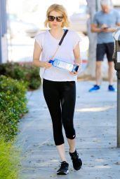 Emma Roberts Keeps it Simple in Black and White - at the Gym in West Hollywood 6/16/2016