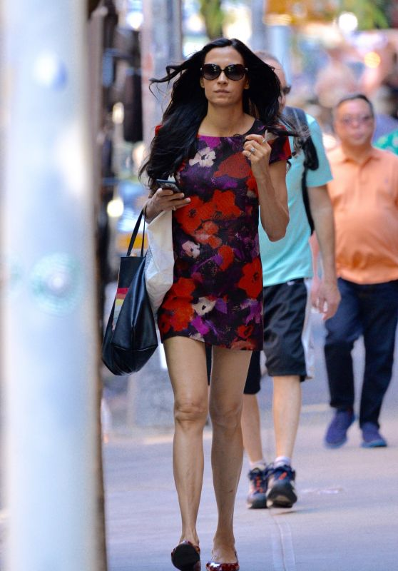 Famke Janssen Wearing a Floral Dress in Soho Manhattan, NYC 6/17/2016